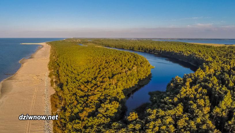 Jezioro w Dziwnowie z lotu ptaka